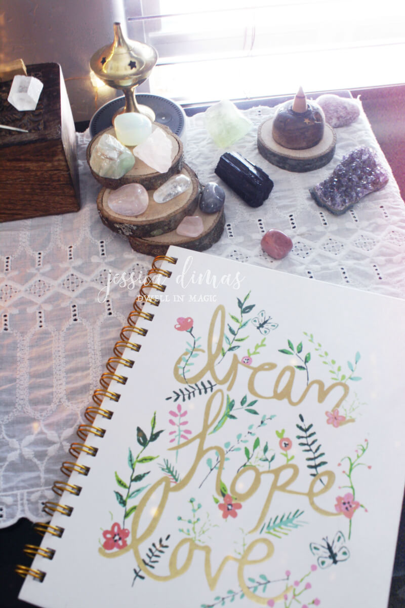 Keep a journal in your sacred self-care space