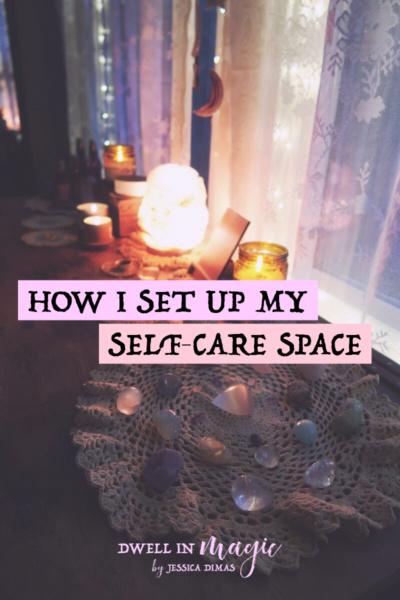 How I set up my self-care space #selfcarespace #selfcarealtar #meditationspace #witchythings #selfcareblogger #selfcareblog #selfcaretips #sacredselfcare #dwellinmagic #altar #sacredspace #sacredspaceideas #selfcareideas