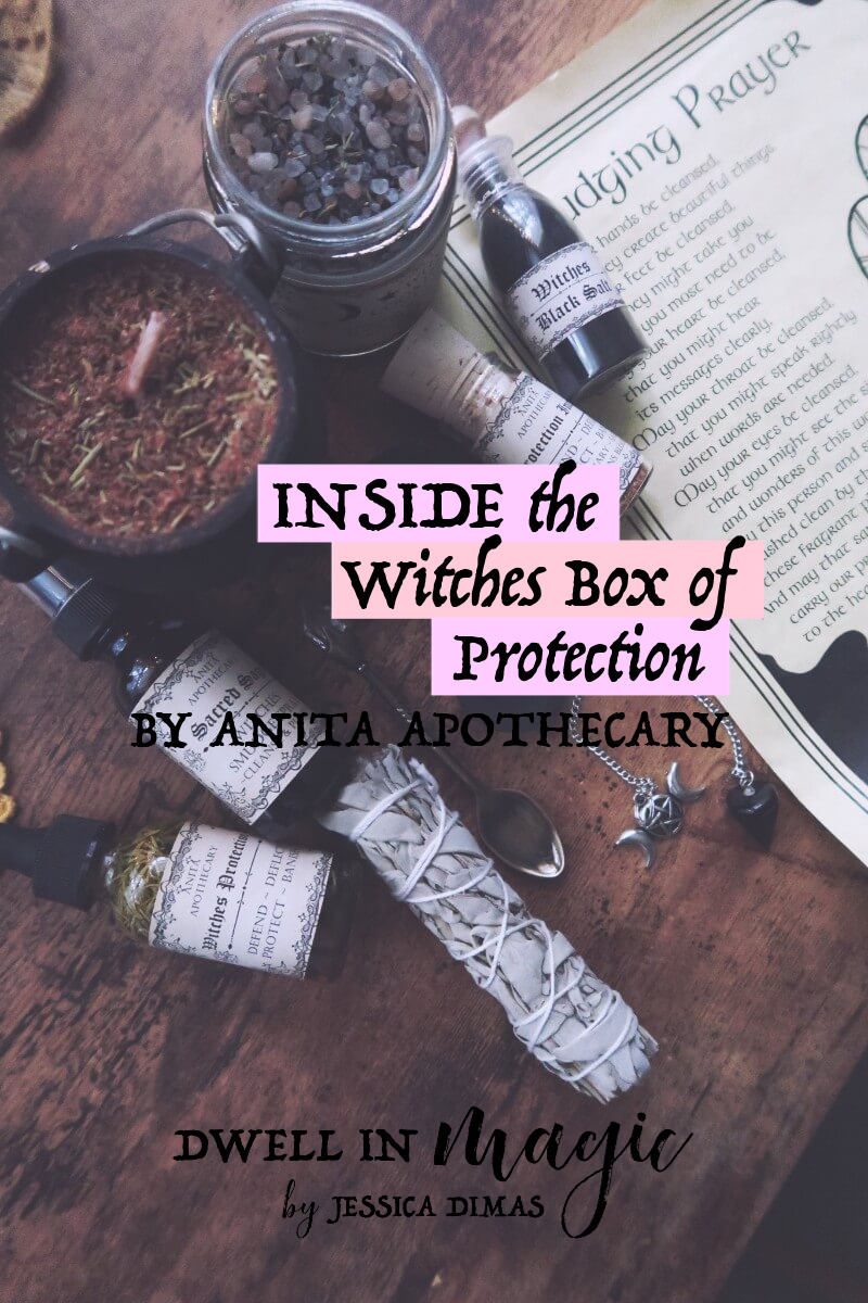 Inside the Witches Box of Protection, a subscription box for witches by Anita Apothecary #subscriptionbox #witchybox #witchysubscriptionbox #dwellinmagic #witchythings #witchblog #selfcareblog