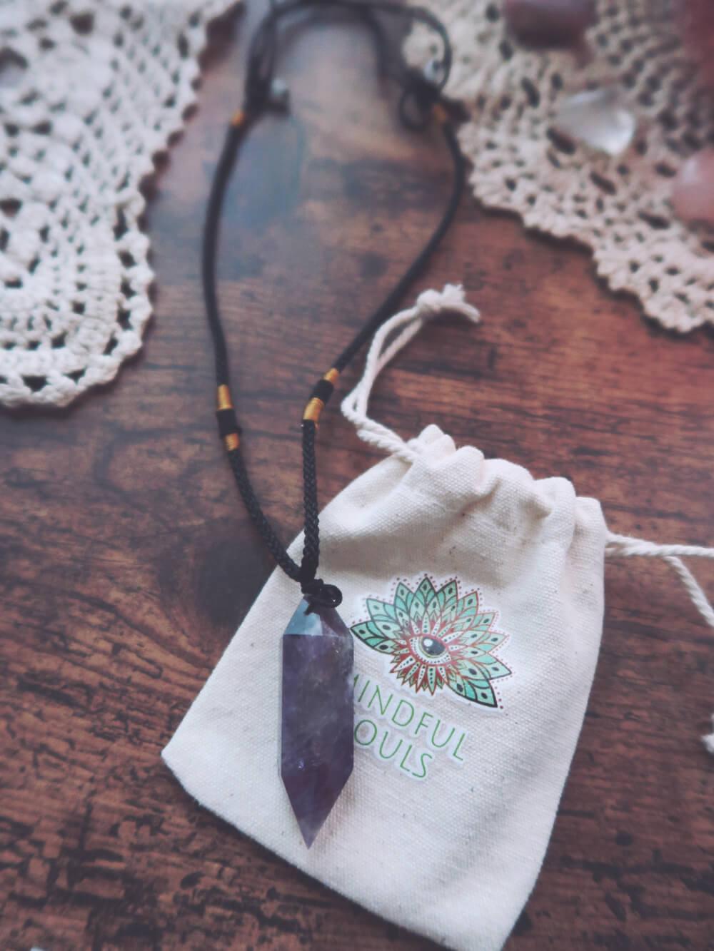 Pendulum amethyst necklace
