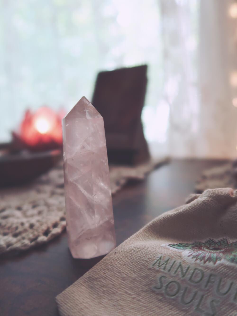 Rose quartz pointer crystal